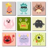 Funny cartoon monster cute alien character creature happy illustration devil colorful animal vector. Funny cartoon monster cute alien character and creature Royalty Free Stock Image