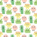 Funny cartoon monster cute alien character creature happy illustration seamless pattern colorful animal vector. Funny cartoon monster cute alien character and Stock Images