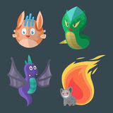 Funny cartoon monster cute alien character creature happy illustration devil colorful animal vector. Royalty Free Stock Images