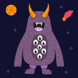 Funny cartoon monster cute alien character creature happy illustration devil colorful animal vector. Stock Images