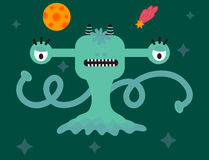 Funny cartoon monster cute alien character creature happy illustration devil colorful animal vector. Stock Photography