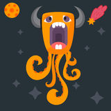 Funny cartoon monster cute alien character creature happy illustration devil colorful animal vector. Stock Photos