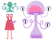Funny cartoon monster cute alien character creature happy illustration devil colorful animal vector. Royalty Free Stock Photography