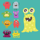 Funny cartoon monster cute alien character creature happy illustration devil colorful animal vector. Royalty Free Stock Photo