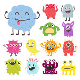 Funny cartoon monster cute alien character creature happy illustration devil colorful animal vector. Funny cartoon monster cute alien character and creature Vector Illustration