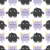 Funny cartoon monster cute alien character creature happy illustration seamless pattern colorful animal vector. Stock Image