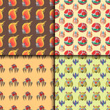 Funny cartoon monster cute alien character creature illustration seamless pattern colorful animal vector. Royalty Free Stock Photo