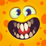 Funny cartoon monster face avatar with a big smile full of teeth vector illustration