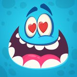 Funny cartoon monster face in love. Vector illustration. Design for St. Valentine`s Day.  royalty free illustration