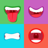 Funny cartoon monster mouth sticking out tongue. Simple and cute vector illustration.. Monsters mouths set with different expressions. Smile with teeth Stock Photos