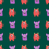 Funny cartoon monster seamless pattern alien character creature happy illustration devil colorful animal background. Funny cartoon monster seamless pattern cute Stock Photos