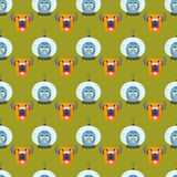 Funny cartoon monster seamless pattern cute alien character creature illustration colorful animal vector. Stock Photo