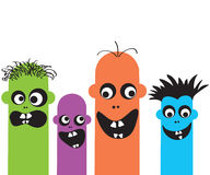 Funny cartoon monsters. Funny family cartoon color monster Stock Photo