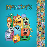 Funny cartoon monsters card and border Royalty Free Stock Photography
