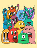 Funny cartoon monsters card. In bright colours Stock Images