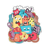 Funny cartoon monsters card Stock Photo