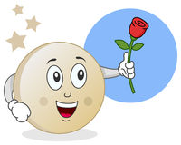 Moon with Rose Character Royalty Free Stock Photography