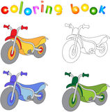Funny cartoon motorcycle. Coloring book for kids Stock Images