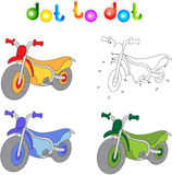 Funny cartoon motorcycle. Connect dots and get image. Educationa. L game for kids. Vector illustration Royalty Free Stock Photo