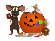 Funny Cartoon Mouse Celebrating Halloween Royalty Free Stock Images