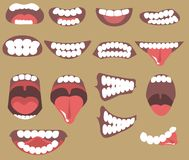 Funny Cartoon mouths set. With different expressions. Smile with teeth, sticking out tongue, surprised. Simple vector illustration royalty free illustration