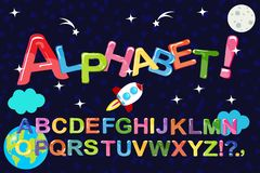 Funny cartoon multicolored bubble letters, vector Isolated on white background stock photo