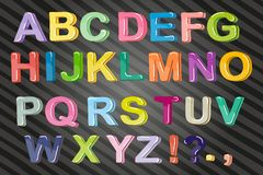 Funny cartoon multicolored bubble letters, vector Isolated on white background.  royalty free illustration
