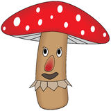Funny cartoon mushroom. Vector illustration of the funny catroon mushroom on white backfround Stock Photos
