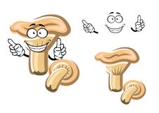 Funny cartoon mushroom with face Stock Images