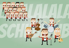 Funny cartoon music band and choir Stock Images
