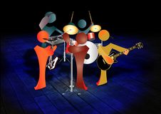 Funny cartoon music band Royalty Free Stock Photo