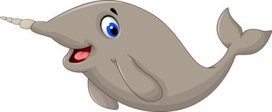 Funny cartoon narwhal smiling. Illustration of funny cartoon narwhal smiling Stock Photo