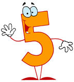 Funny Cartoon Numbers-5. Five royalty free illustration