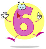 Funny Cartoon Numbers-6, background Royalty Free Stock Photo