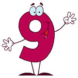 Funny Cartoon Numbers-9 Stock Photography