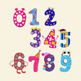 Funny Cartoon Numbers - Illustration. Colorful  set  cute numbers from 0 to 9. Funny Cartoon Numbers - Illustration Royalty Free Stock Photography
