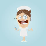 Funny cartoon nurse with syringe Royalty Free Stock Photos