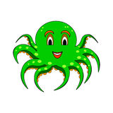 A funny cartoon octopus isolated on a white backgr Stock Photo