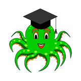 A funny cartoon octopus in a magister cap Royalty Free Stock Image