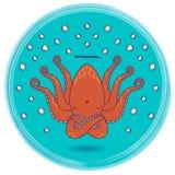 Funny cartoon octopus singing om mantra - animal yoga series. Funny cartoon octopus singing om mantra in circle frame - animal yoga series vector illustration