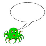 A funny cartoon octopus with a speech bubble Stock Image