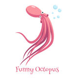 Funny cartoon octopus. Cartoon octopus swimming and blowing bubbles on a white background, funny and surprised octopus with big eyes vector illustration Stock Photos