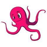 Funny cartoon octopus on white. Vector illustratio. Vector illustration of a funny cartoon octopus Royalty Free Stock Image