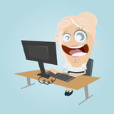 Funny cartoon office woman Royalty Free Stock Image