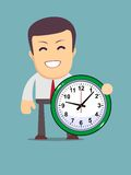 Funny cartoon office worker with clock Royalty Free Stock Image