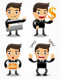 Funny cartoon office worker with sale Promotions i. Con set, drawing Stock Images