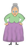 Funny Cartoon Old Grandma, Granny Illustration Stock Photo