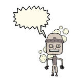 Funny cartoon old robot with speech bubble Royalty Free Stock Photo