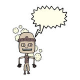 Funny cartoon old robot with speech bubble Royalty Free Stock Images