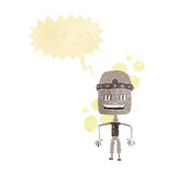 Funny cartoon old robot with speech bubble Stock Photos